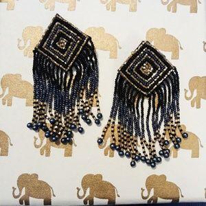 Jewelry - Black & Gold Seed Bead Boho Earrings